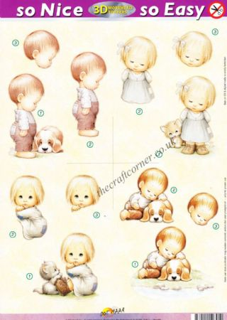 Little Boy & Girl, Kitten and Puppy So Nice, So Easy Morehead 3D Die Cut Decoupage Sheet